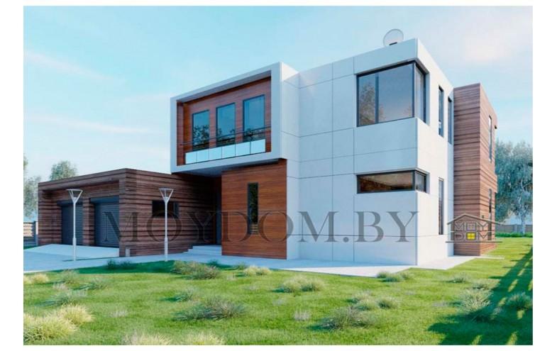 Проект современного двухэтажного дома с бассейном