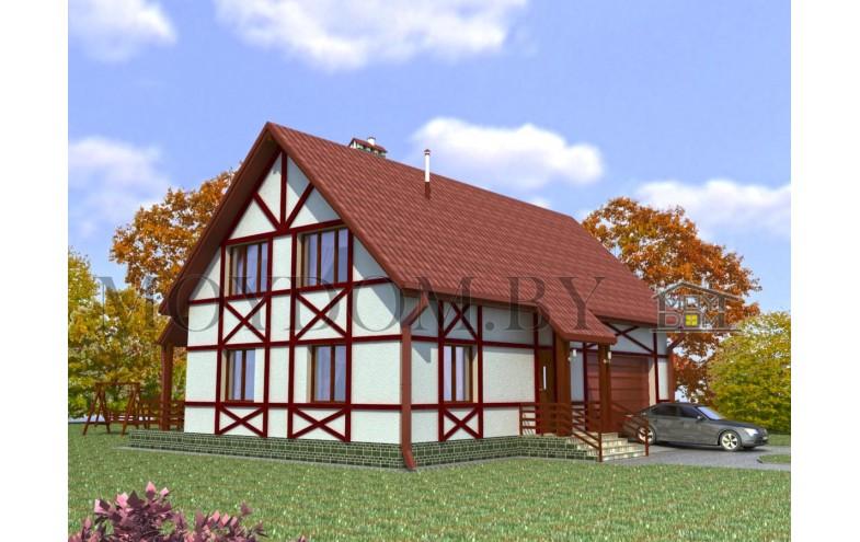 Проект мансардного дома из блоков до 200 кв.м и гаражом