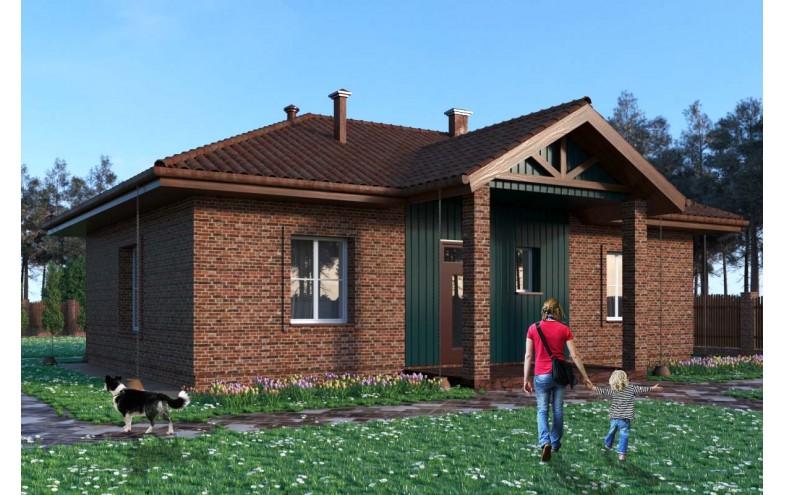 Готовый проект одноэтажного дома до 100 кв.м с 3-мя спальнями