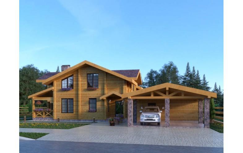 Готовый проект деревянного мансардного дома  с гаражом на 2 машины