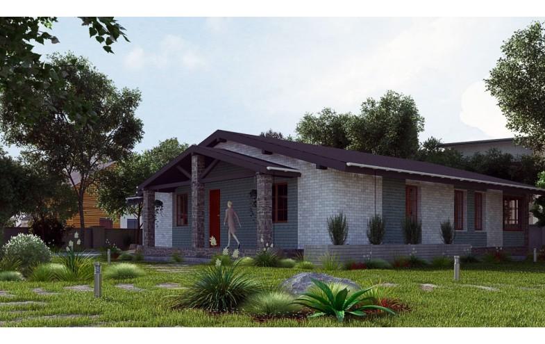 Готовый компактный проект блочного одноэтажного дома с гаражом и верандой