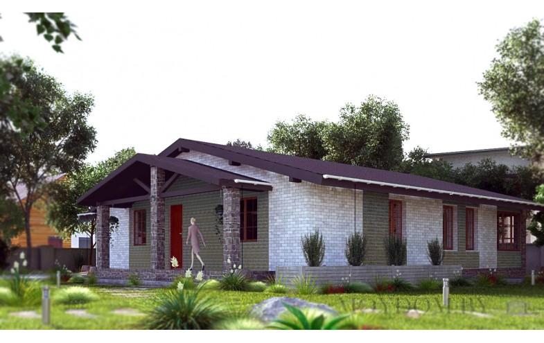 Проект одноэтажного дома с сауной 140