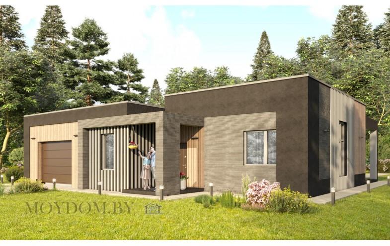 Проект одноэтажного дома 795 с гаражом и плоской крышей