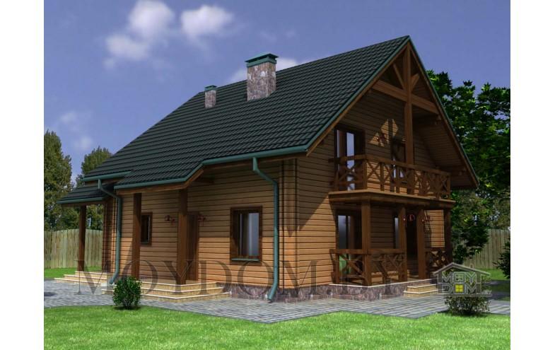 Проект мансардного дома из деревянного бруса до 200 кв.м