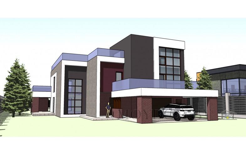 Проект трёхэтажного дома с офисом и гаражом