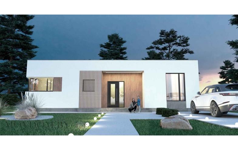 Современный дом с плоской крышей 120 м.кв