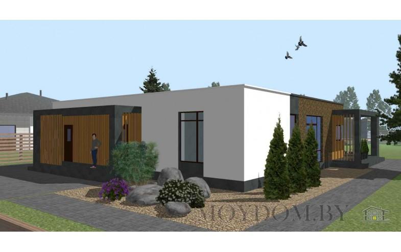 Проект одноэтажного современного дома с плоской крышей