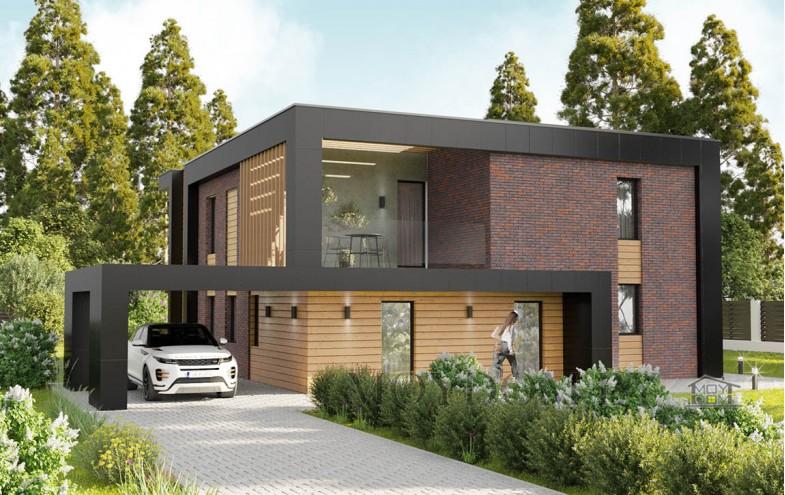 Современный дом с гостиной со вторым светом и навесом для машины