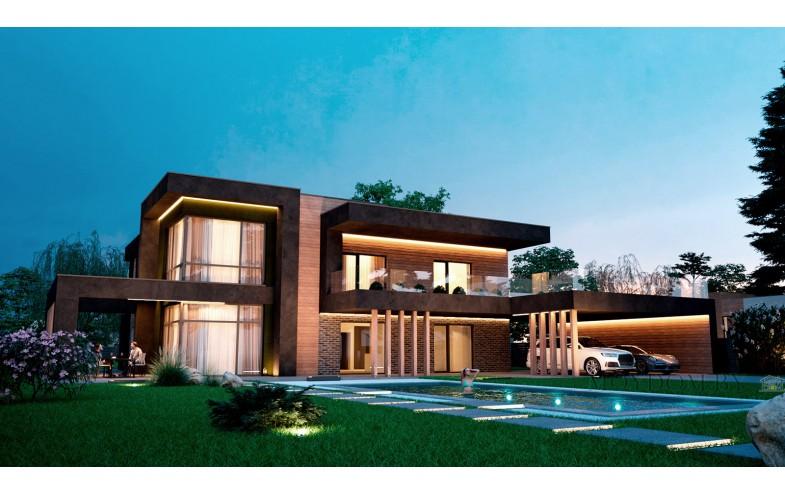 Современный дом с гостиной и со вторым светом