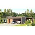 Проект одноэтажного дома 927 с навесом и плоской крышей