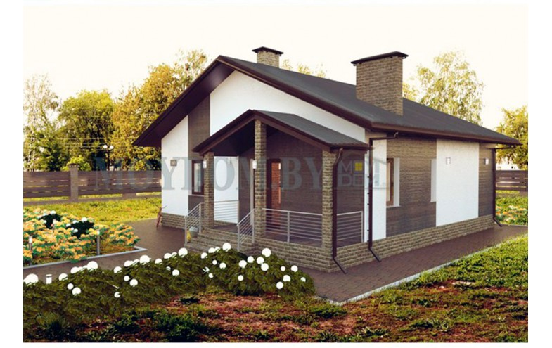 Готовый проект одноэтажного блочного дома до 100 кв.м с 1 спальней