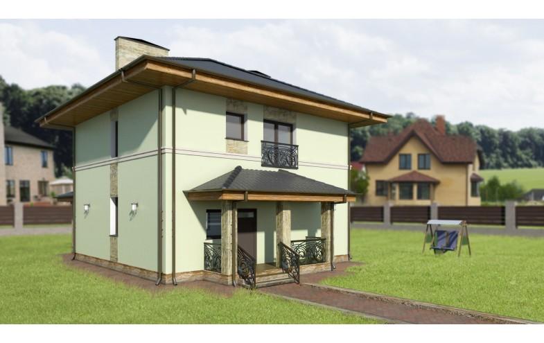 Готовый проект блочного двухэтажного дома с большой кухней, просторными комнатами