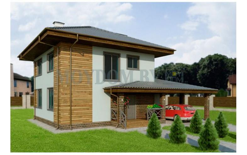 Готовый проект стильного двухэтажного дома из блоков с навесом на 2 машины