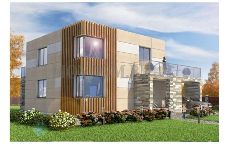 Готовый проект современного двухэтажного дома с плоской крышей и навесом для машины