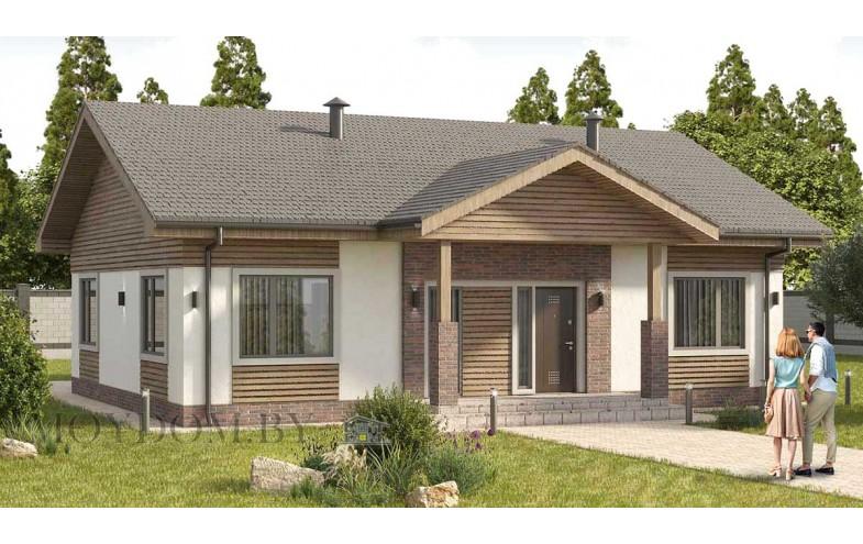 одноэтажный дом с двускатной крышей и вторым светом