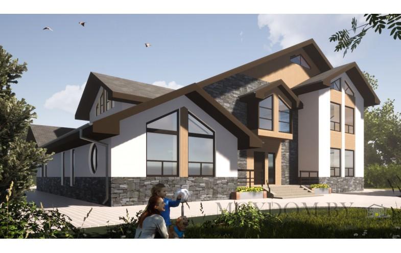 Современный дом с большой гостиной и со вторым светом