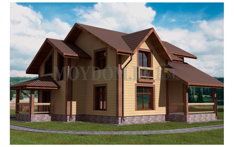 Готовый проект  мансардного дома из бруса с 2-мя террасами