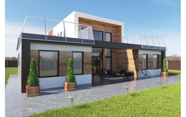 Готовый двухэтажного дома с плоской крышей, баней, вторым светом и большими окнами