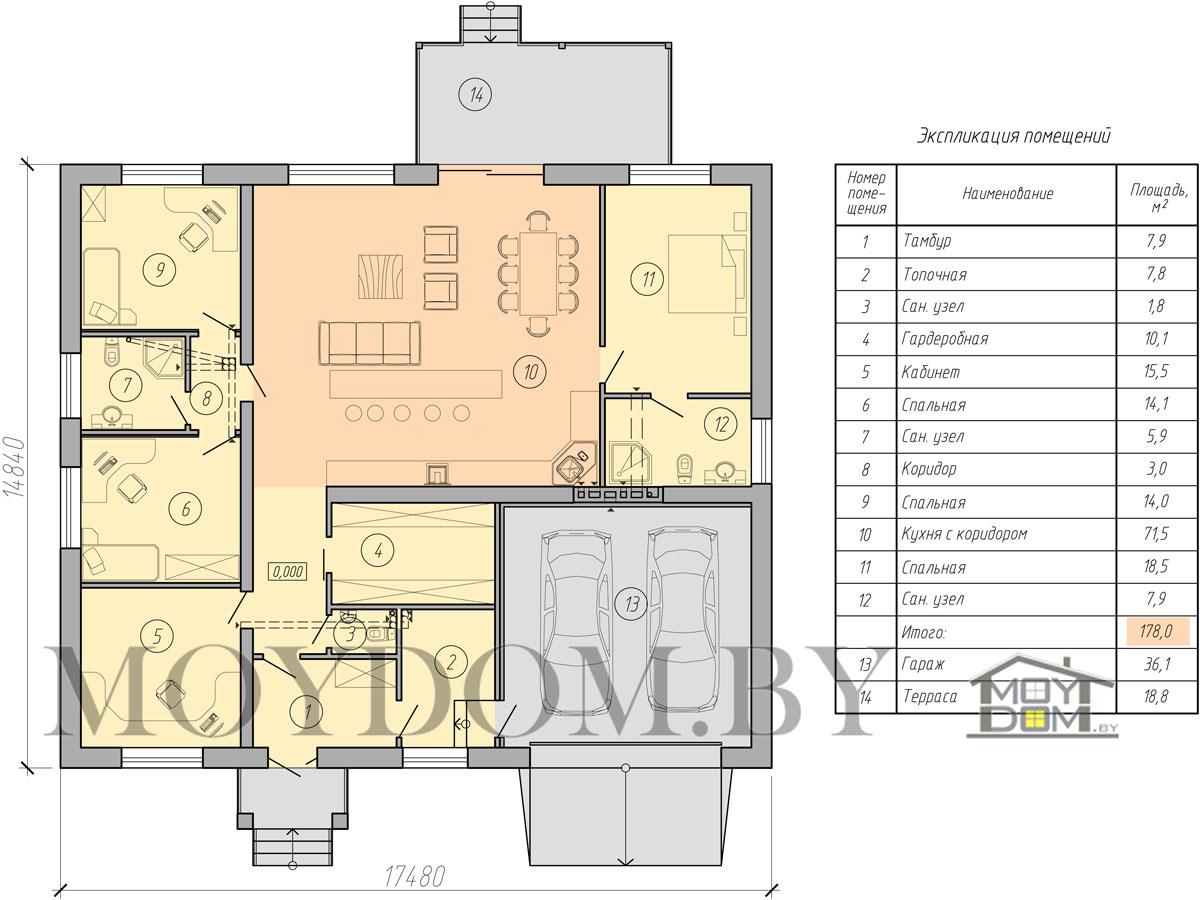 план одноэтажного дома с гаражом