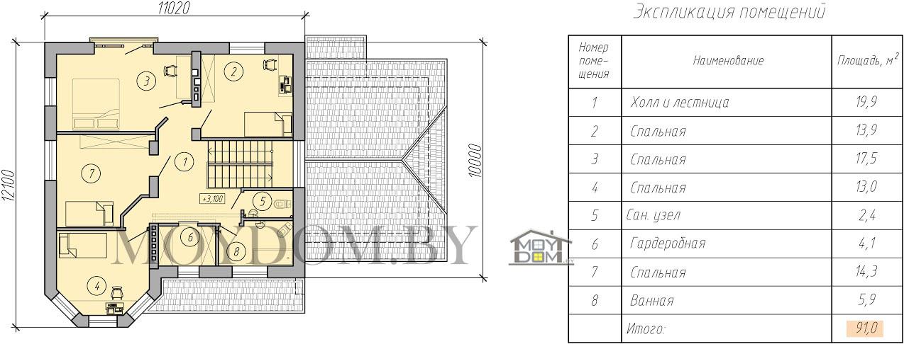план двухэтажного дома с подвалом второй этаж