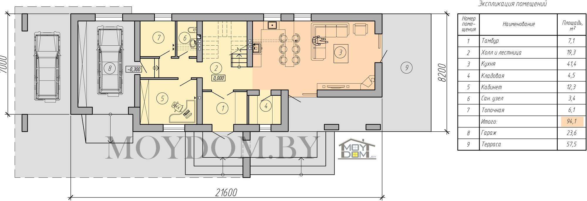 планировка двухэтажного дома в стиле хайтек