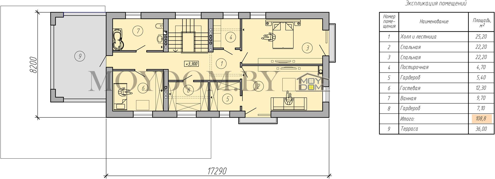 планировка двухэтажного дома в стиле хайтек второй этаж