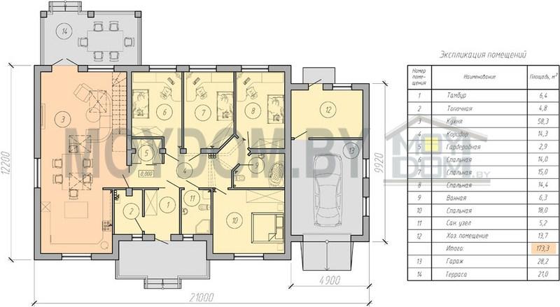 план четыре комнаты