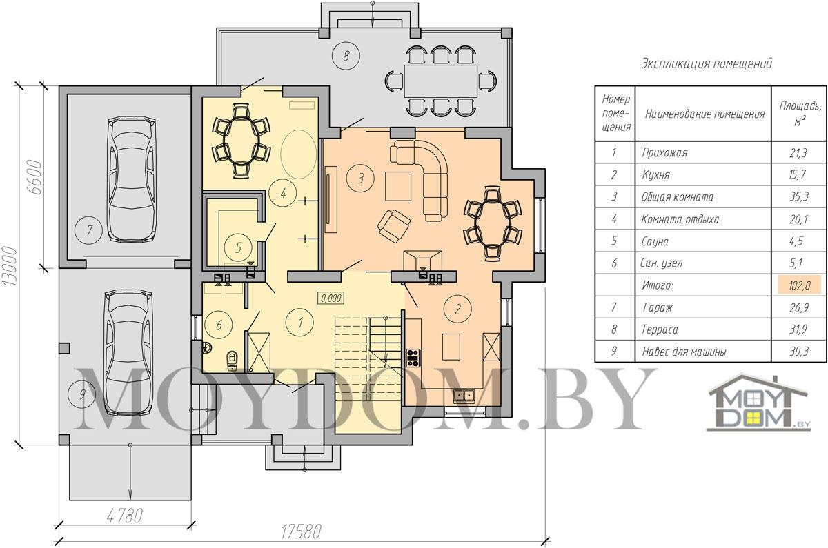 план двухэтажного дома с навесом первый этаж