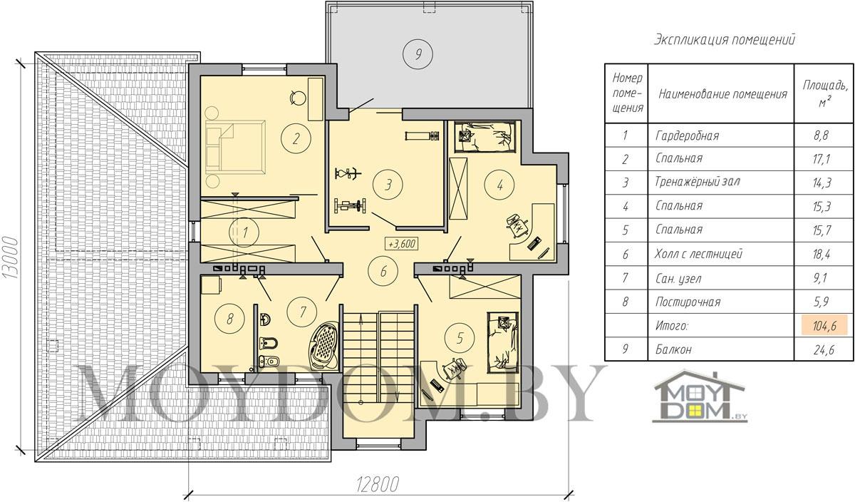 план двухэтажного дома с навесом второй этаж