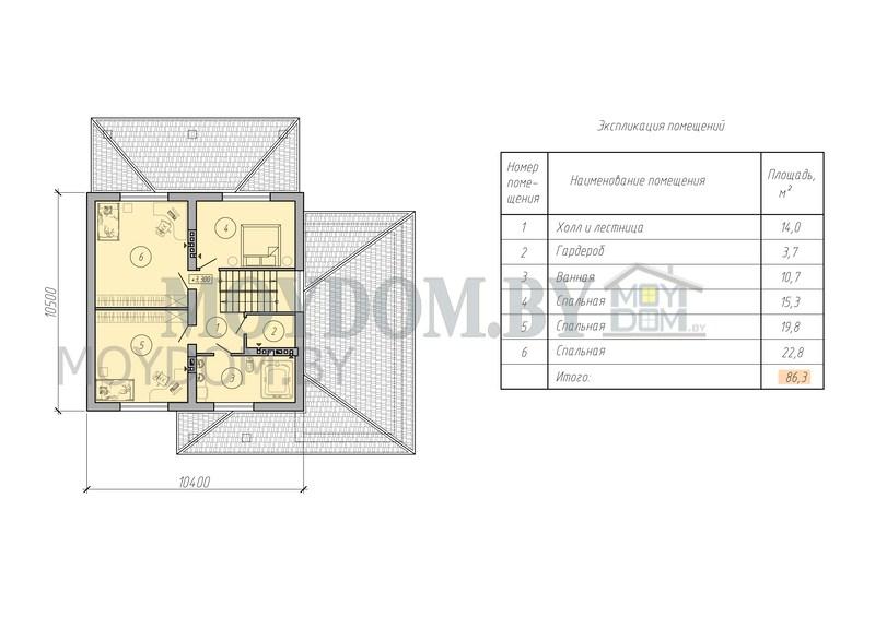 мансардный дом с гаражом план второй этаж