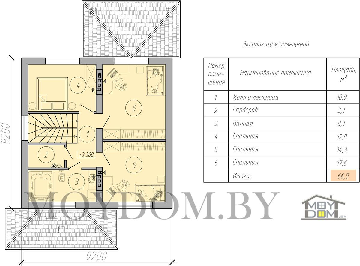 мансардный дом план второй этаж