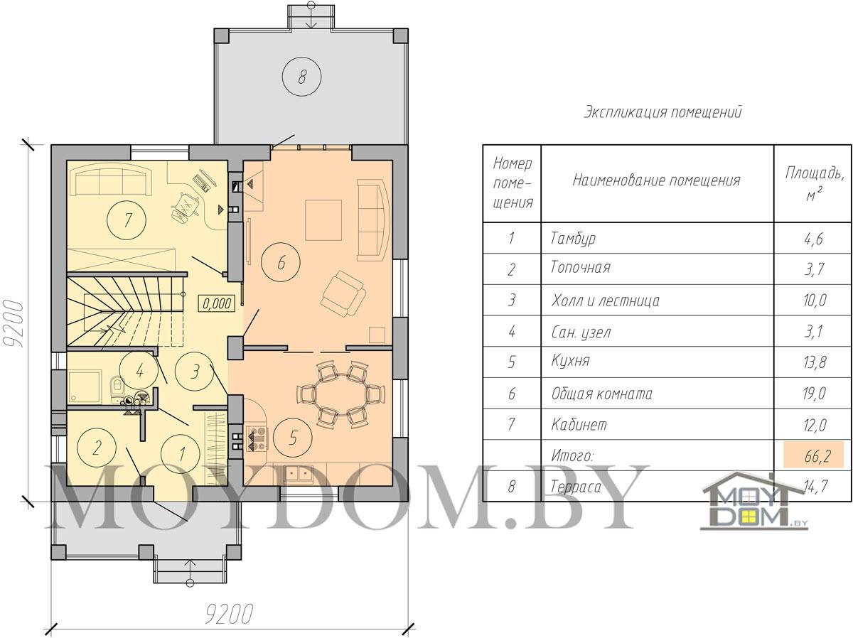 мансардный дом план первый этаж