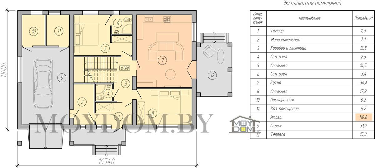 планировка двухэтажный дом с гаражом