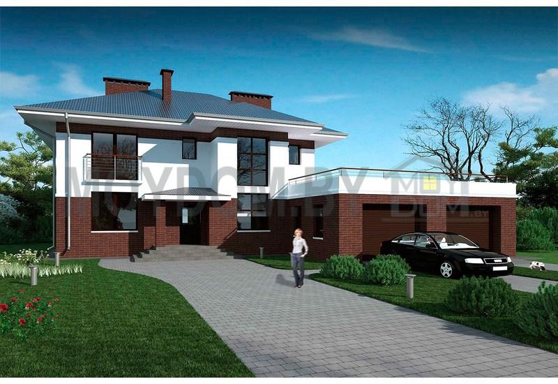 фото респектабельного двухэтажного дома с гаражом на две машины