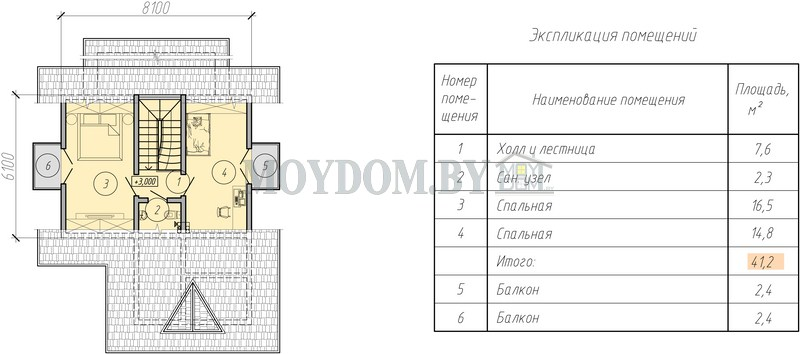 проект мансардного дома план