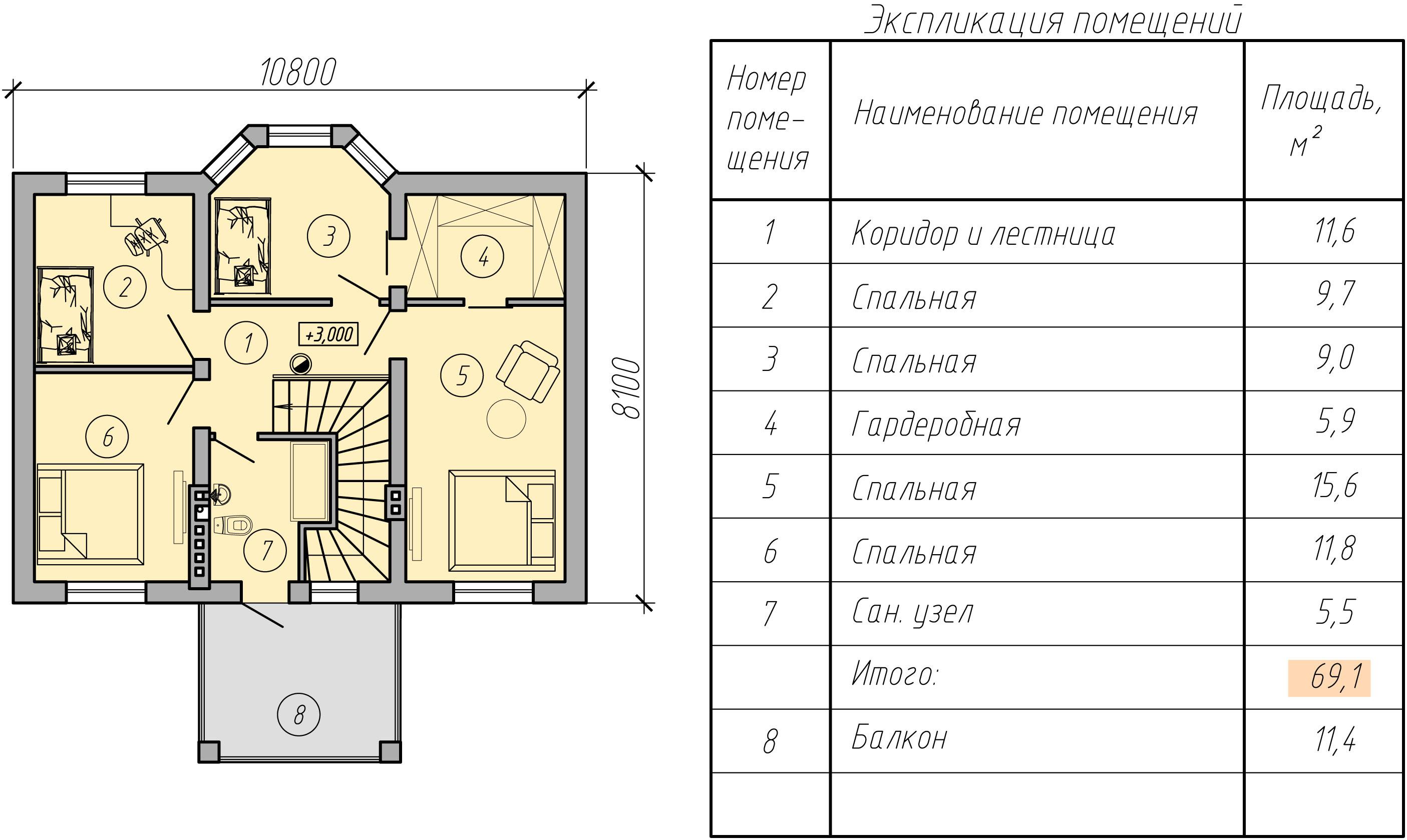 план двухэтажного дома второй