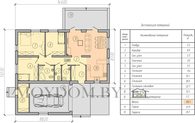проект одноэтажного дома планировка