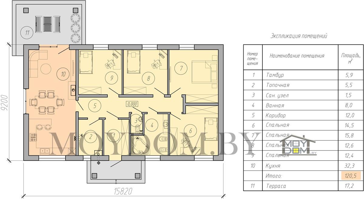 одноэтажный дом 120 кв план