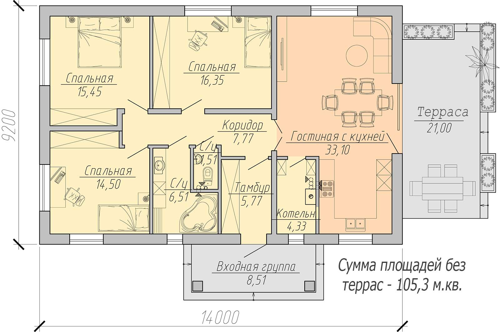 план одноэтажного дома 120