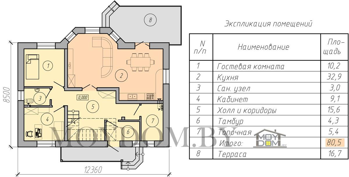 план мансардного дома первый этаж