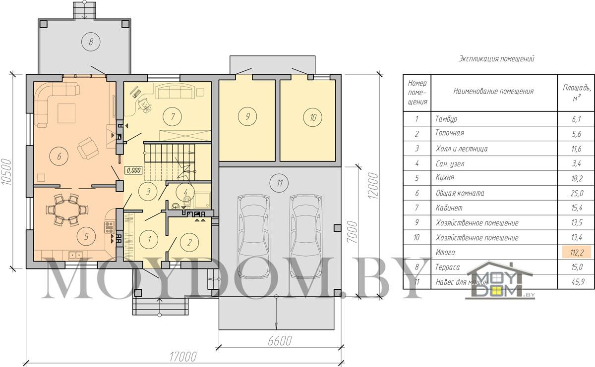 двухэтажный дом с навесом план