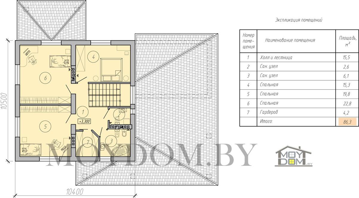 двухэтажный дом с навесом план второй этаж