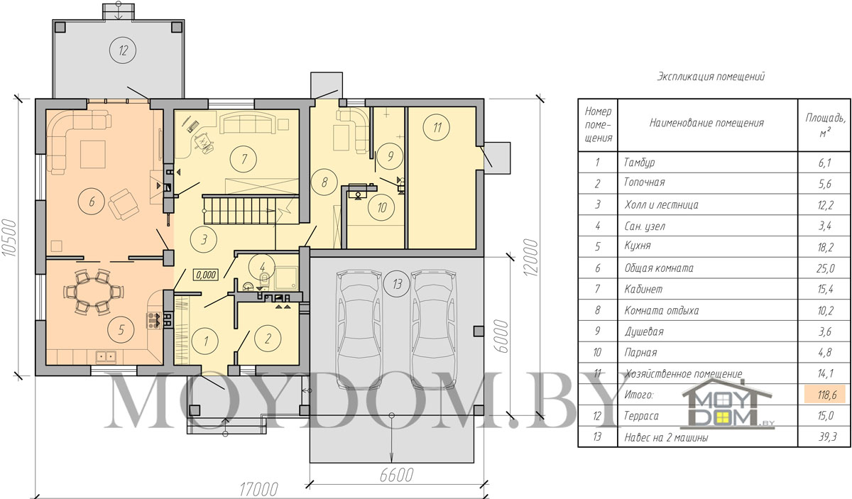 план двухэтажного дома с навесом