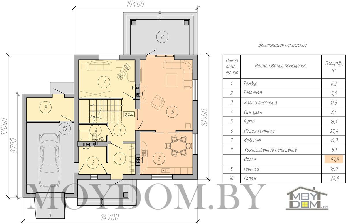 план современного двухэтажного дом