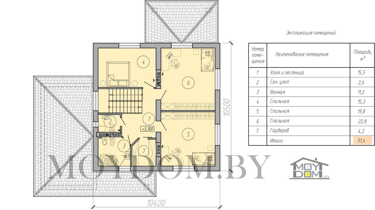план современного двухэтажного дом второй этаж