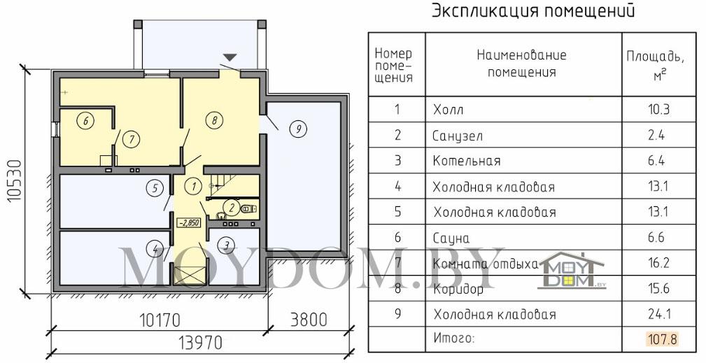 проект двухэтажного дома план цокольный этаж