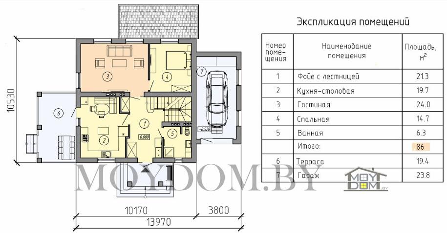 проект двухэтажного дома план первый этаж