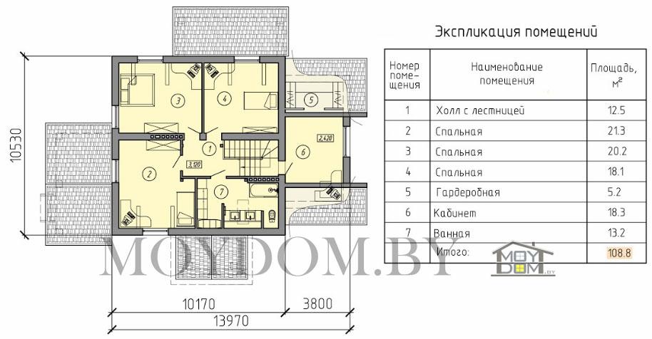 проект двухэтажного дома план второй этаж