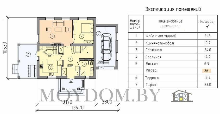 проект двухэтажного дома планировка первый этаж