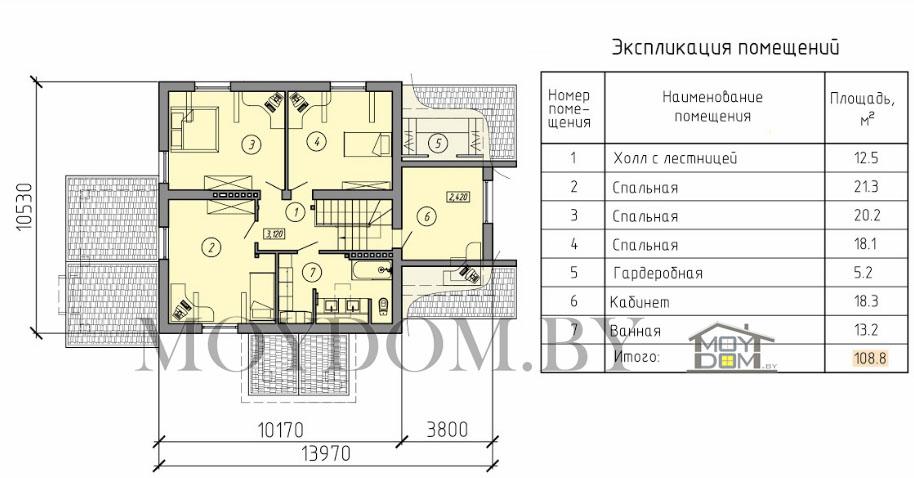 проект двухэтажного дома планировка второй этаж
